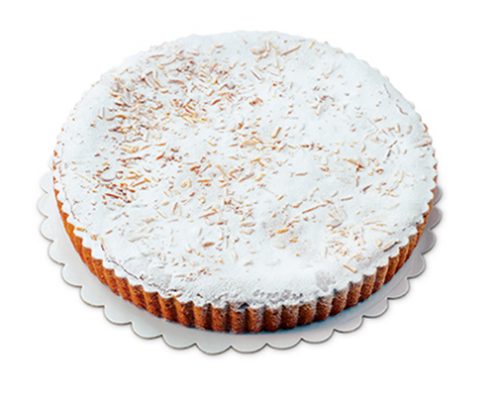 Pinienkern-Torte Italienische Tradition! TK, Zitronencreme zwischen Mürbteigboden und Biskuitdeckel, dekoriert mit Pinienkernen 1200 g / Stück